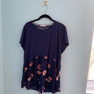 Jolt Blue and Flowery Tunic Top, Size XL